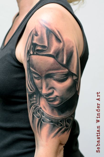 www.unbunt-tattoo.de  La Pieta Tattoo heilige Maria Mutter Gottes Religious Tattoo from from Sebastian Winder Tattoo Artist, Germany,  Unbunt Tattoo