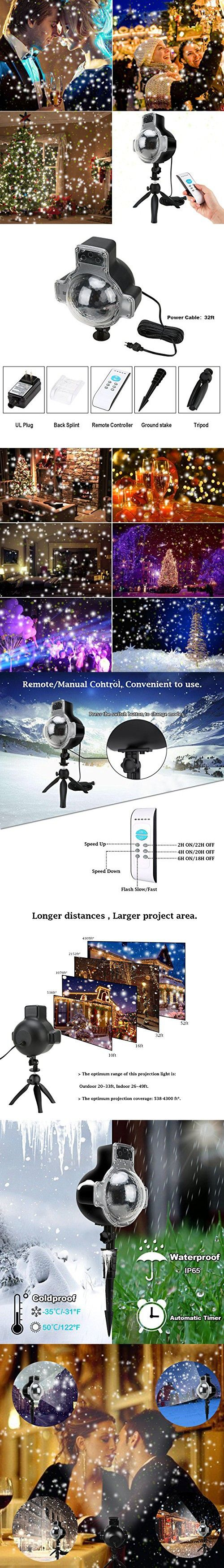 Snowfall Projector LED Lights Wireless Remote, IP65 Waterproof Rotatable White Snow For Christmas Halloween Holiday Party Wedding Garden New Year House Landscape Decorations