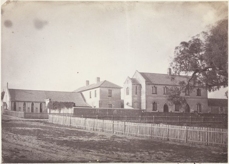 6923B/80: St John's Pro-Cathedral, the Convent of Mercy and the girls' school viewed from Lord St (later Victoria Ave) across Howick St (later Hay St), 1862?   https://encore.slwa.wa.gov.au/iii/encore/record/C__Rb4167690