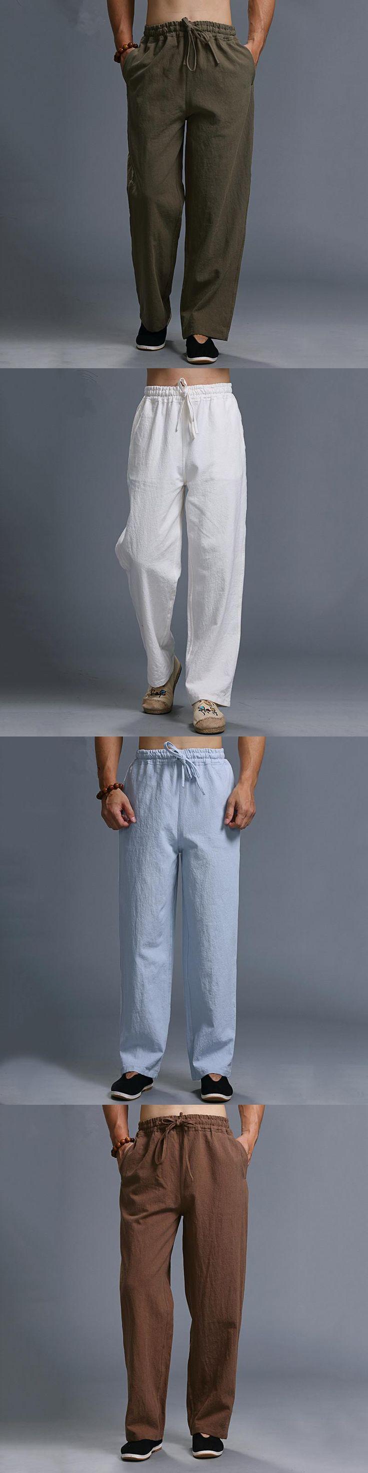 New Style Casual linen pants men brand Trousers Fashion men linen pants cargo pants Men Trousers long pantalon homme