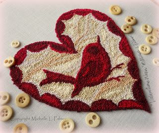 Michelle Palmer punch needle pattern Valentine Wren. Heart shaped with the most beautiful variegated red floss by DMC
