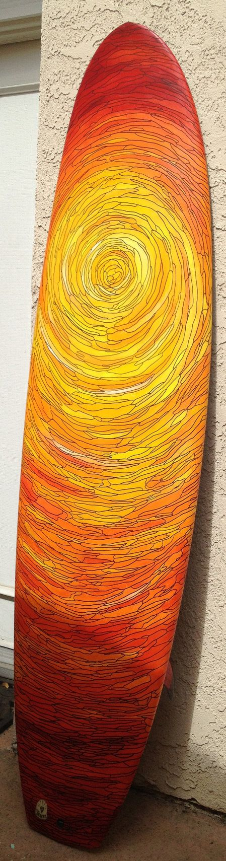 """#LL @lufelive #Surfing Surfer's Sunset - Hand Painted 6'8"""" DanO Surfboard"""