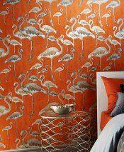 Amidala (Arancio, Marrone beige, Marrone grigiastro) | Carta da parati glamour | Motivi di carta da parati | Carta da parati degli anni 70