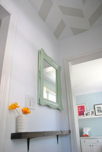 DIY hallway makeover; mint mirror, chevron ceiling, and narrow shelf