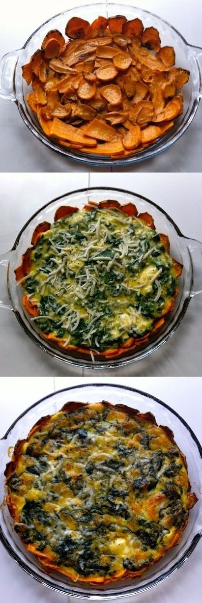 Sweet Potato Crusted Spinach Quiche #GF