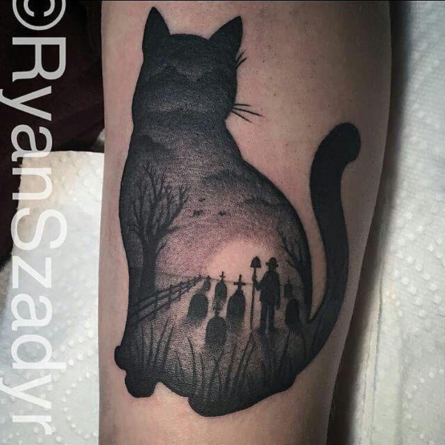 Black cat silhouette tattoo the image - Tatouage silhouette chat ...