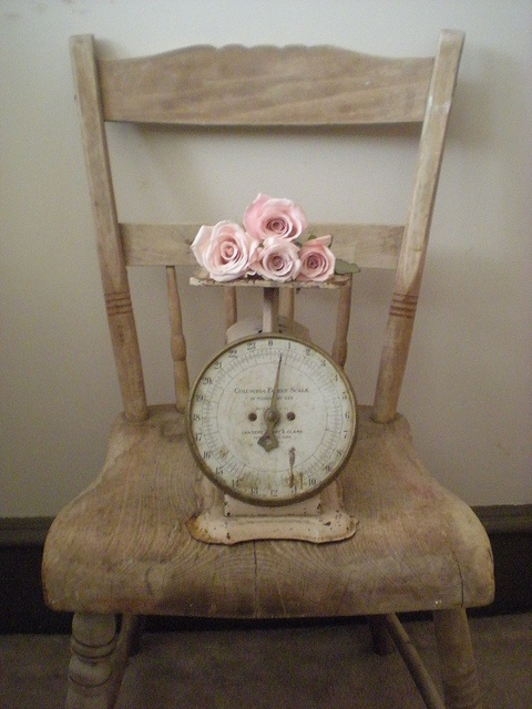 Pink roses and vintage scale