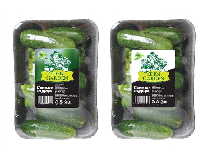 Дизайн упаковки огурцов для компании Eden Garden. Packaging design of cucumbers for the company Eden Garden.