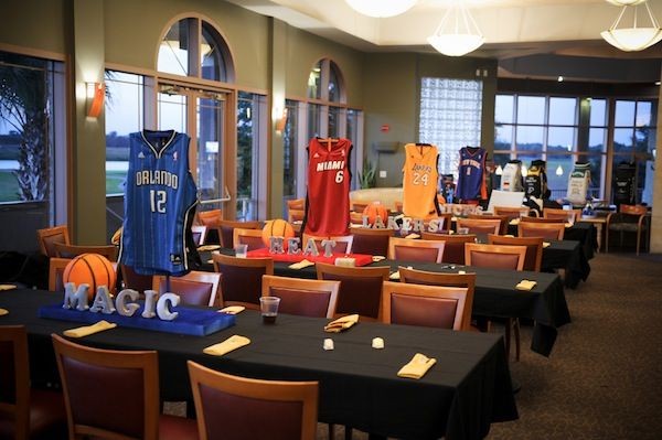 Basketball Jerseys Centerpieces - Bar Mitzvah Sports Theme {A Magic Moment} - mazelmoments.com