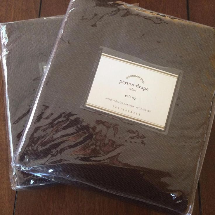 Pottery Barn Drapes Peyton Pole 50x63 Lined Linen Blend Curtains Brown Set of 2 #PotteryBarn #Traditional