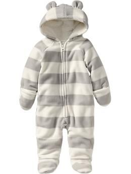 Micro Performance Fleece One-Pieces for Baby | Old Navy |$17.00 grey stripes, blue stripes, or multicolor stripes. Mason needs this.