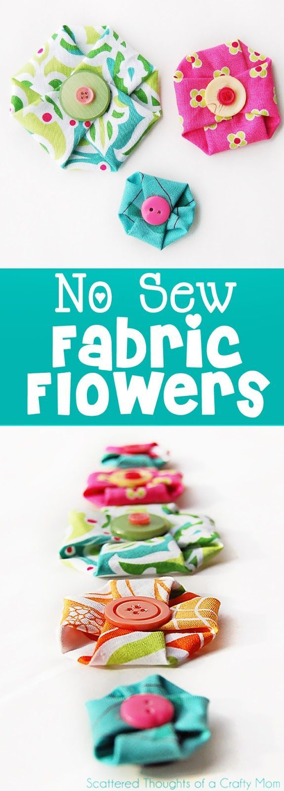Make these adorable No Sew Fabric Flowers in less than a minute!