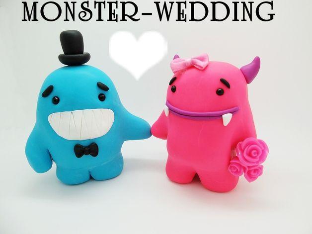 1 x Paar Hochzeitstortenfiguren, Monster- Brautpaar. Diese Hochzeit Tortenfiguren stellen Sie am besten auf die Torte, als Torten-Topper.  Die Hochzeitsdekoration ist komplett individualisierbar...
