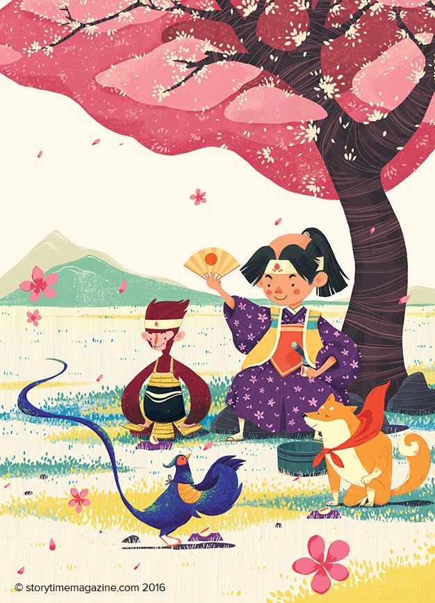 Momotaro the Peach Boy a Japanese legend in Storytime 26. Illustrated by Quang Phung Nguyen (https://www.behance.net/phungnguyenquang) ~ STORYTIMEMAGAZINE.COM