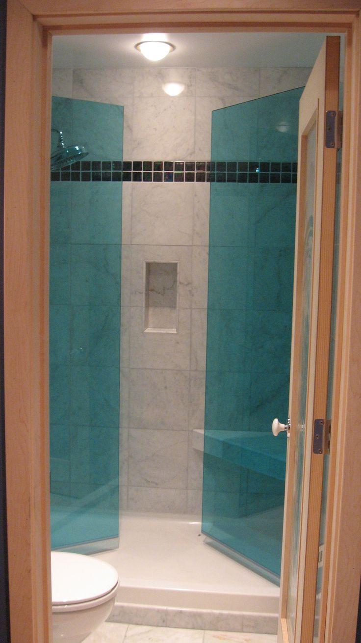 Harbor bathroom project frameless blue glass shower doors