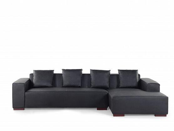 Sofa narożna L – skórzana – drewniane nóżki - głęboka czerń - LUNGO_359681