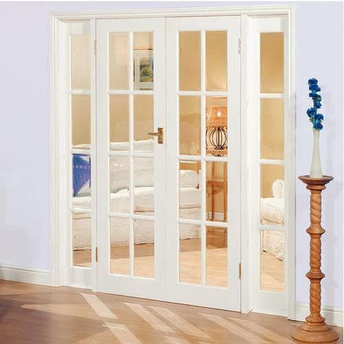 Large image of newland pine french doors demi panel for Interior glass french doors