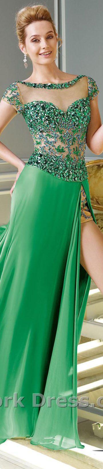 Alyce Paris design elegant large bejeweled formal sparkly green dress.