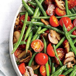 Haricots Verts with Cherry Tomatoes and Mushrooms Recipe   MyRecipes.com Mobile