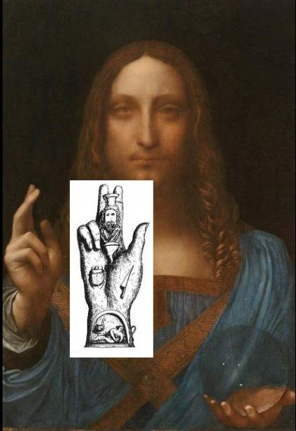 Leonardo's art work Salvator Mundi is a portrait of Jesus Christ. In this portrait Jesus holds crystal ball in his one hand and his other hand is showing the Mano Pantea symbol.