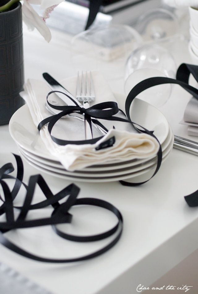 White with Black Table Setting