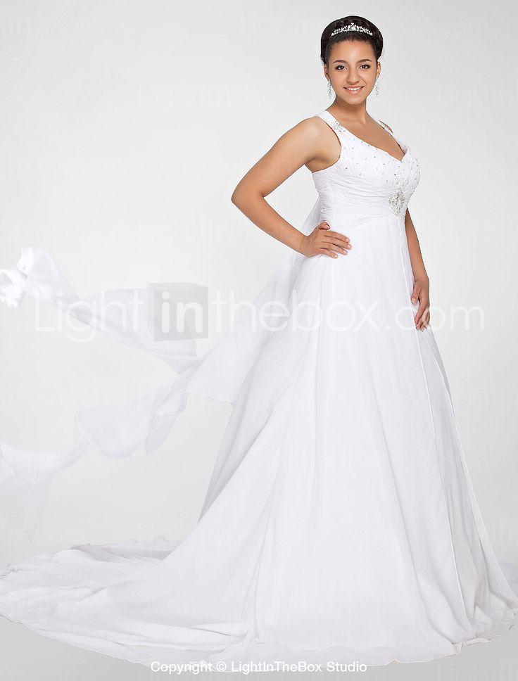 Lanting Bride® A-Linie Extraklein / Übergrößen Hochzeitskleid - Schick & Modern Herbst 2014 Kirchen Schleppe V-Ausschnitt Chiffon mit 247233 2016 – €156.79