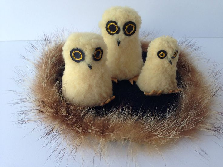 VTG Ookpik Family Souvenir Arctic Inuit Owls Real Animal Hide Hand Crafted