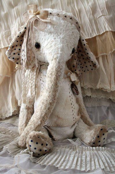 Ooak shabby chic toy elephant Molly Mae by KatinkaDoll on Etsy
