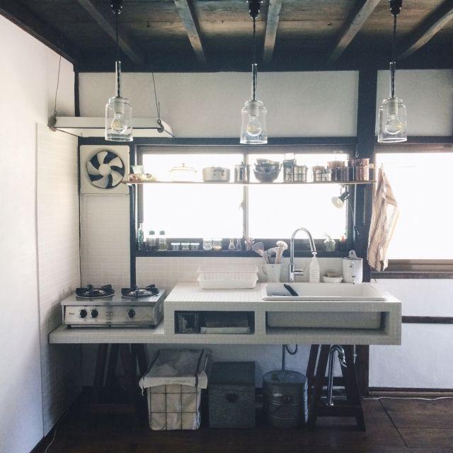 hellopicnicさんの、キッチン,DIY,古道具,タイル,キッチン,琺瑯,リノベーション,ソーホース,のお部屋写真