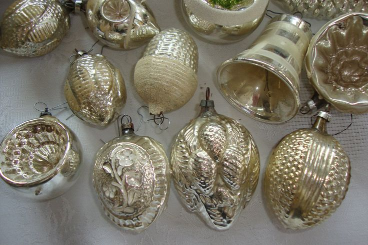 44 pieces of old silver Christmas decorations Lauscha | eBay