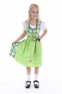 Ihre Tochter wünscht sich ein neues grünes #Sommerkleid? Dann ist dieses fesche #Trachten #Dirndl für Kinder die perfekte Wahl.