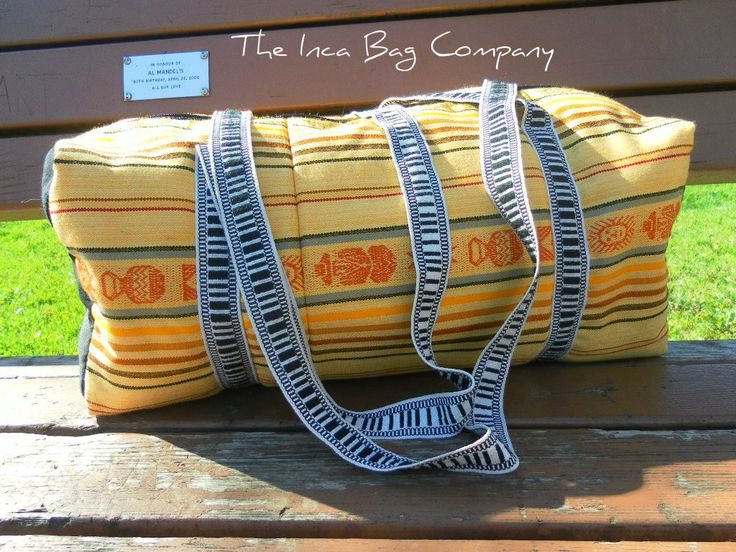 """Originally made in South America in the Andean culture.  The color of the sun. It has a good amount of room for your daily gear--a couple of books, a binder a sweater will all fit just fine along with your laptop. Measurements: 20"""" x 10"""" x 8"""" (inches) http://incabag.com/products/handmade-yellow-duffle-bag"""
