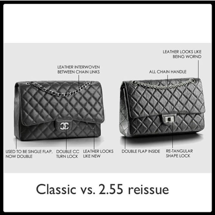 """What's the difference between Classic flap & 2.55 reissue.. Info: 1920- coco chanel designed the classic flap bag to make her hands move freely during social events.  1955 - when chanel redesigned the flap bag for modern women, it was released in february 1955 and that is why it is named 2.55.  The lock on reissue is nicknamed """"mademoiselle"""" as Ms. Coco chanel never married.  2005- Karl Lagerfeld made some changes on the reissue especially inside.  Voila 😉 Folow @fashionbookface   Folow…"""