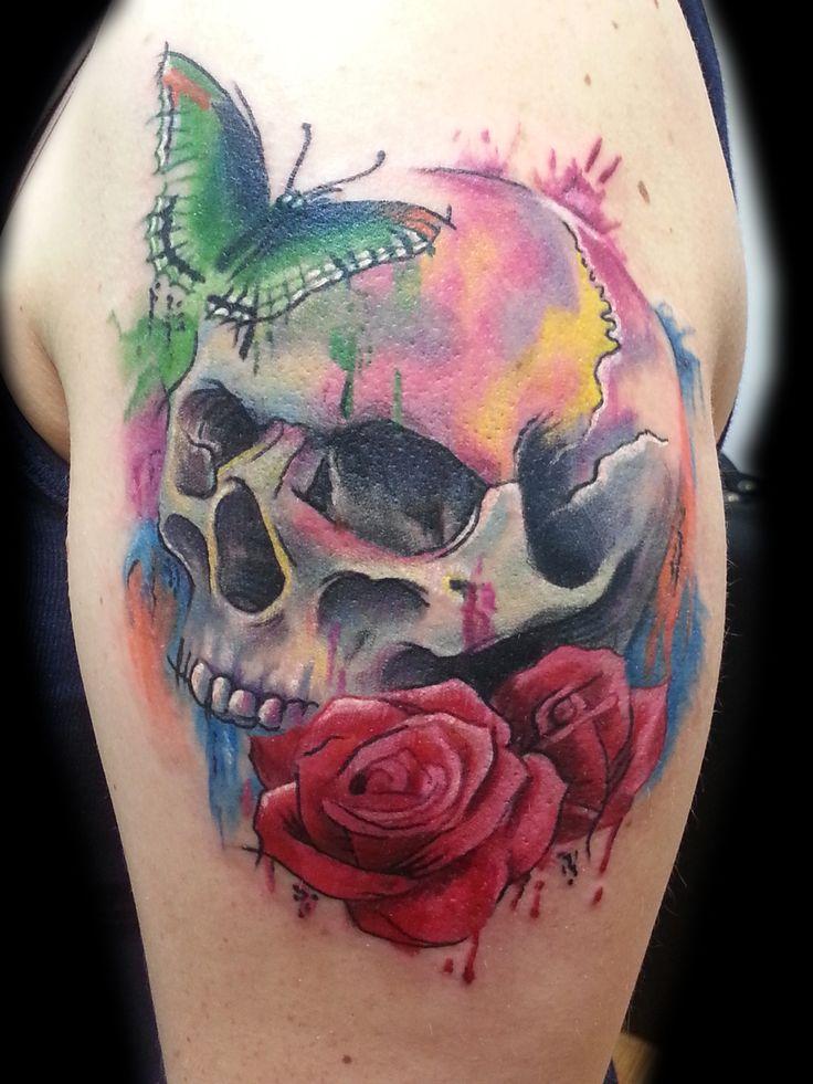 shoulder skull rose tattoo - 736×981