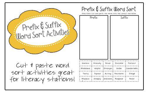 Prefix and Suffix Word Sort Activities