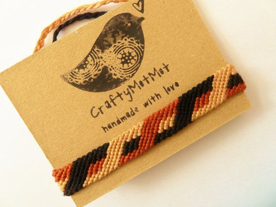 Macrame Bracelet Anklet Brown Handwoven Knotted by CraftyMotMot
