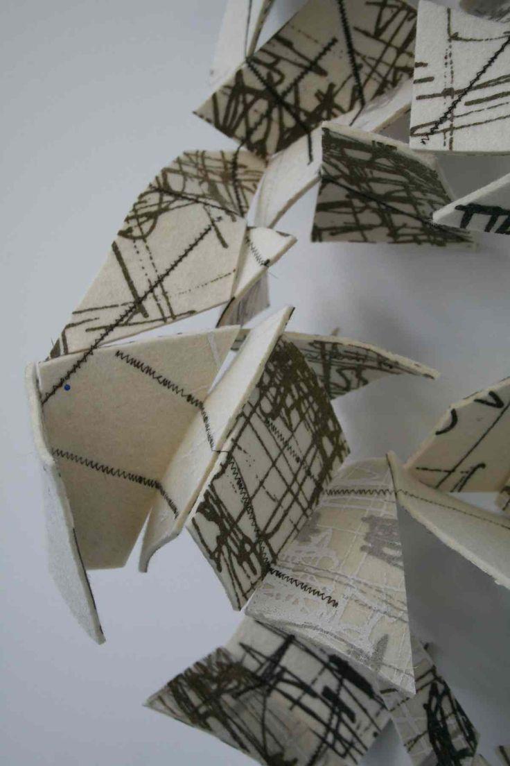 Folded Wall: textile sculpture  alice fox | stitch print weave  www.alicefox.co.uk