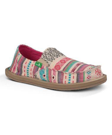 Coral & Beige Tribal Slip-On Shoe - Big Kids by Sanuk #zulily #zulilyfinds