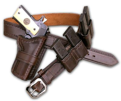 Wild Bunch Rig for 1911 $356.00 http://www.kirkpatrickleather.com/old-west/wild-bunch-rig-28