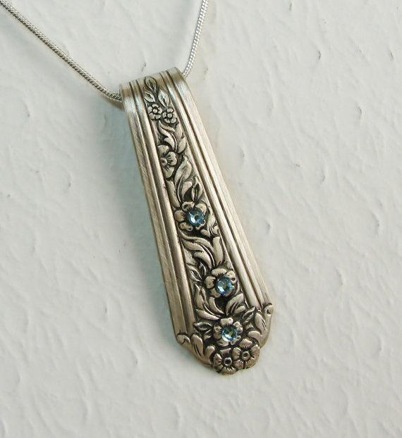 Vintage Spoon Necklace with Ice Blue Swarovski Crystals