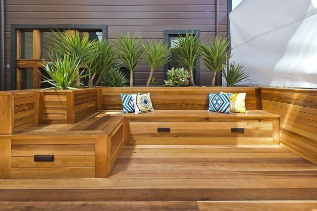 The private, wooden deck with built-in seating. Photo: Vanguard Properties / SF