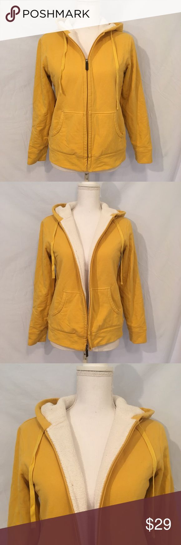 Women's LANDS' END Yellow Zip Up Hoodie Women's LANDS' END zip up jacket. Color is yellow with white inside. Very warm and in great condition, only worn a few times. Lands' End Tops Sweatshirts & Hoodies