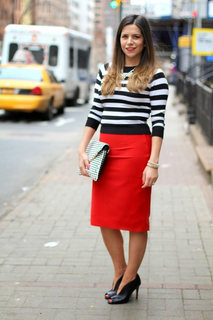 Bold red skirt