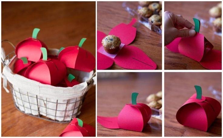 selbstgemachte Verpackung - Äpfel aus Papier