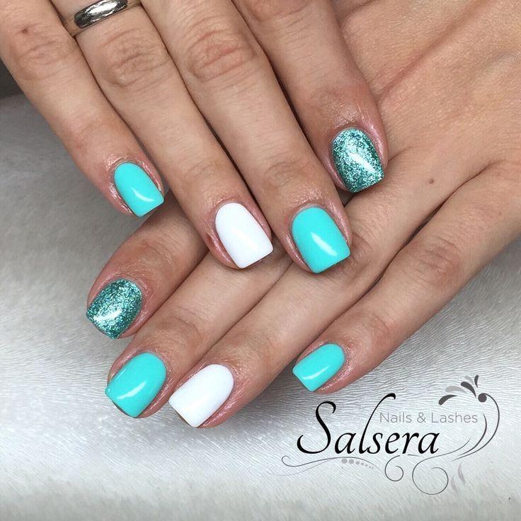 Nägel, Nägel, Nailart, Fullcover, Weiß, Glitter, Short Nails, Square – Nägel