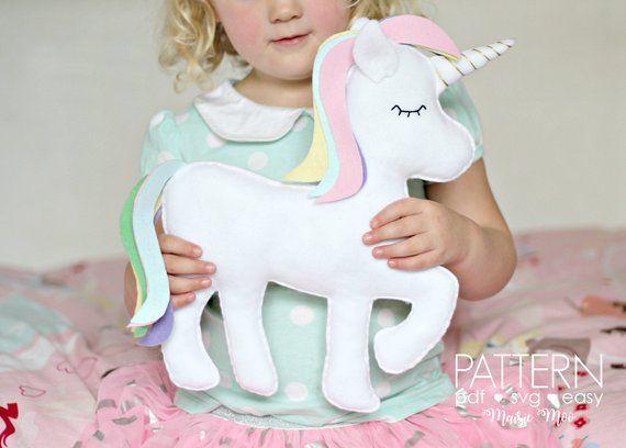 Felt Unicorn Pattern – This pretty pastel unicorn toy or pillow is cut and stitc…