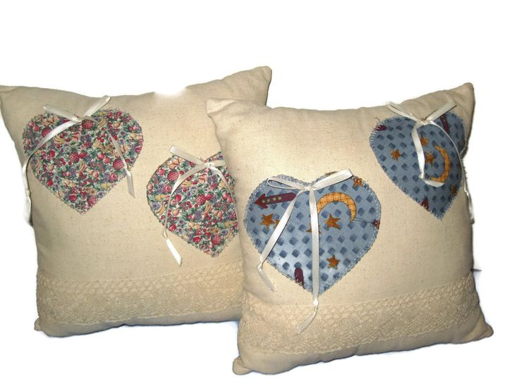 2 Country Throw Pillow's Off White Hearts Lace 13 x 13 Decorative Bows #Country