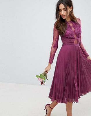 90d901931b54 DESIGN midi dress with lace sleeves and eyelash lace | Bridal Party ...