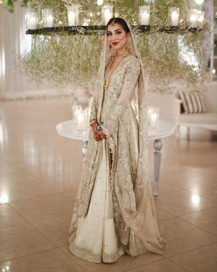 All eyes on Elaf Junejo on this gorgeous tender tullé meticulously crafted, cream…