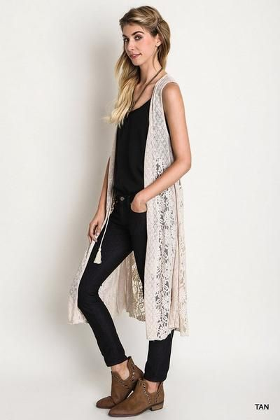 Front Tie long Lace and Knit Vest.